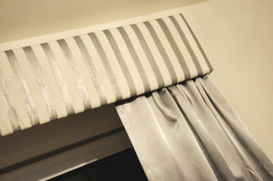 gray striped window treatment