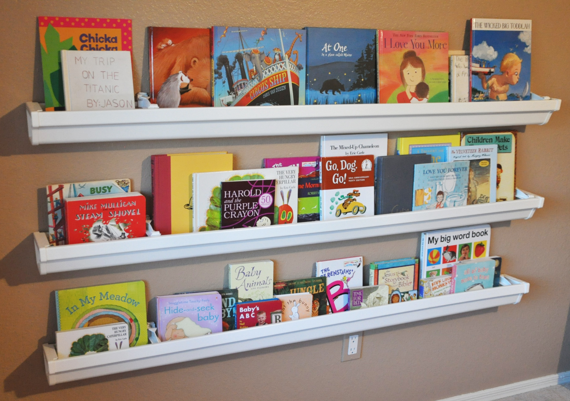 bookshelves made from rain gutters – her view from home - the bookshelves in his new room are made from rain gutters they're perfectbecause they are durable inexpensive and super easy to install