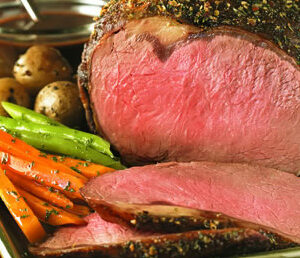 Classic Beef Ribeye Roast with Herbed Shallot Sauce