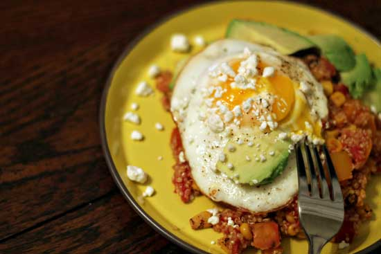 Mexican Quinoa with Fried Egg