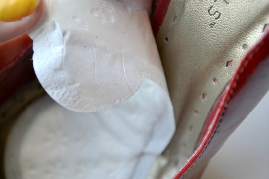 panty liner in high heel close up