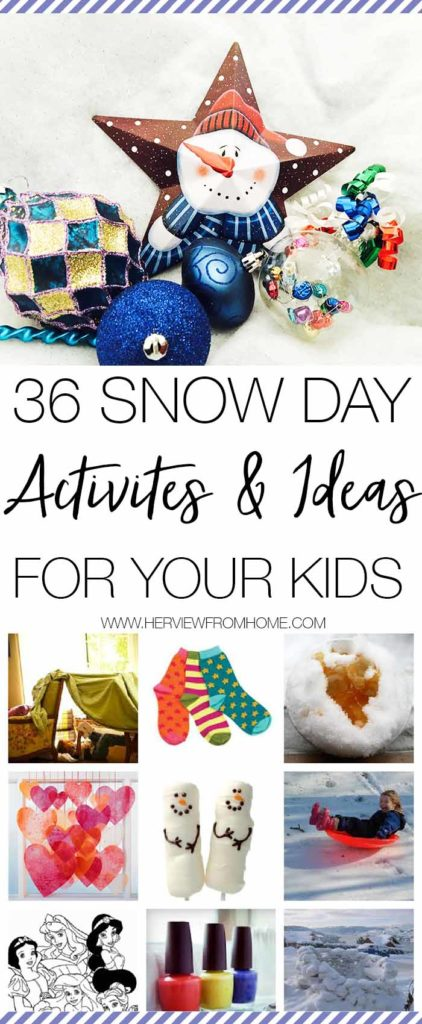 Need inspiration for snow day activities for your kids? Here's 36 ways to stay entertained when it's snowing, raining or even if you just want some indoor activities to have fun with your kids.