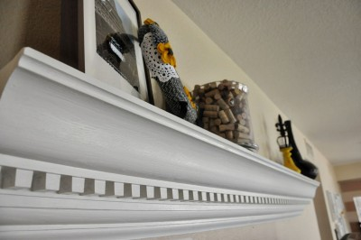 9_DIY Crown Moulding to Mantle  by Making Our Dream