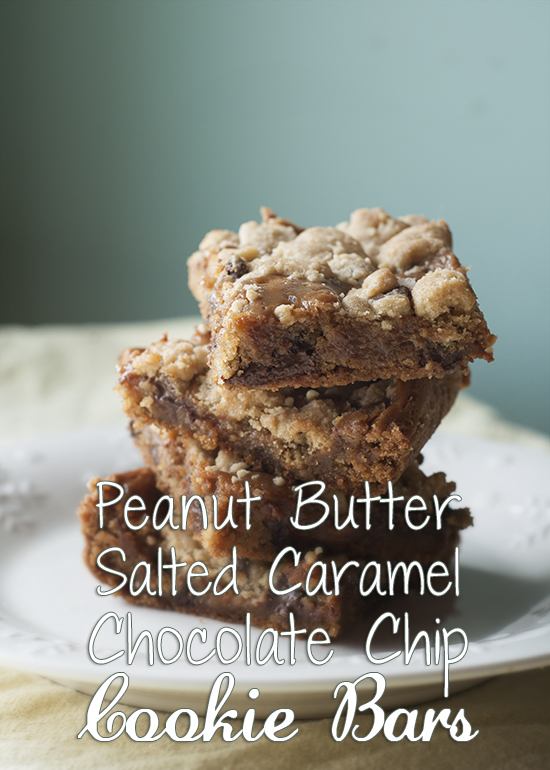 Peanut Butter Salted Caramel Chocolate Chip Cookie Bars | Her View ...