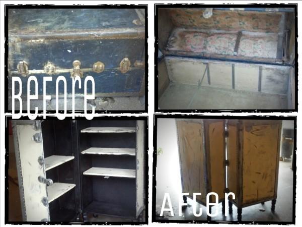 DIY steamer trunk before & after