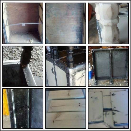 Inside, Legs, Distress Trim Steamer Trunk Shelf