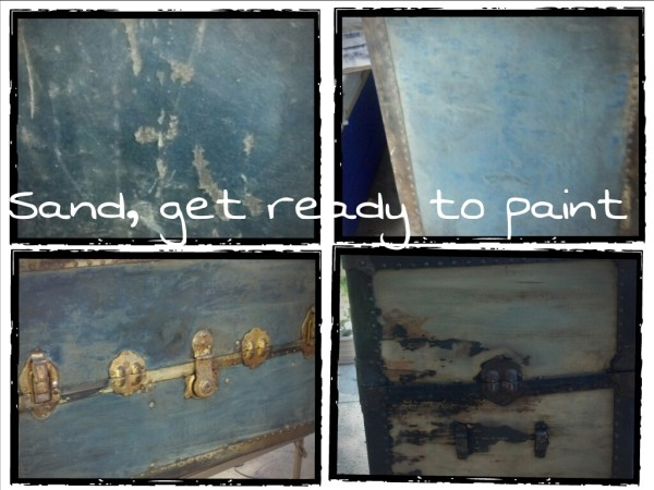 Sand, get ready to paint steamer chest