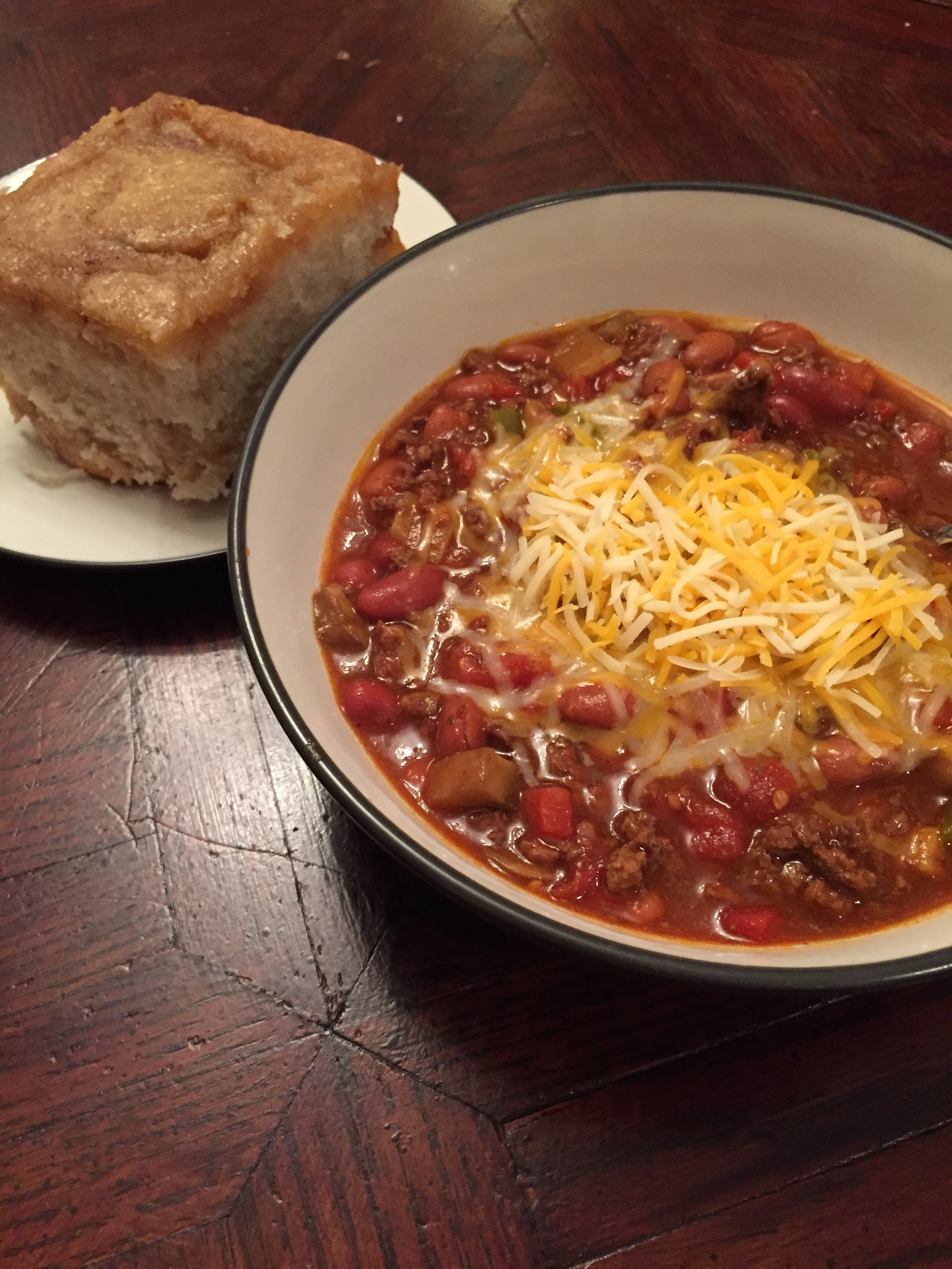 Slow Cooker Harvest Chili with Homemade Cinnamon Rolls