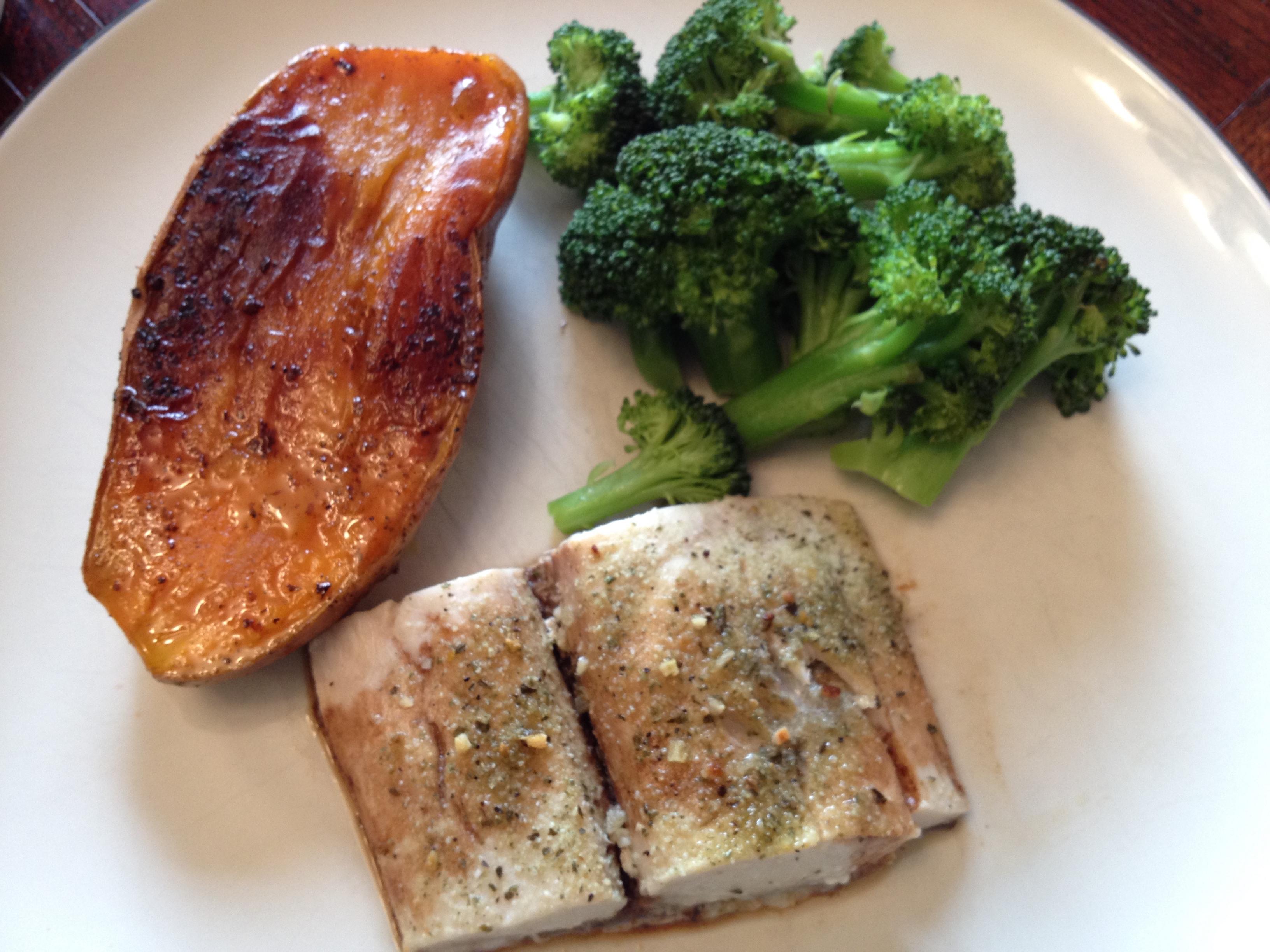 Roasted Sweet Potatoes & Roasted Broccoli