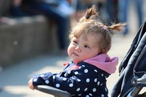 Toddler girl in stroller