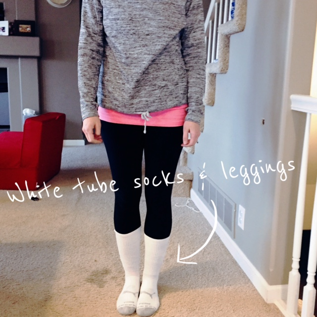 White tube socks and leggings