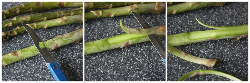 "Shave off the ends of the outer layer of your asparagus to make it less ""woody""."