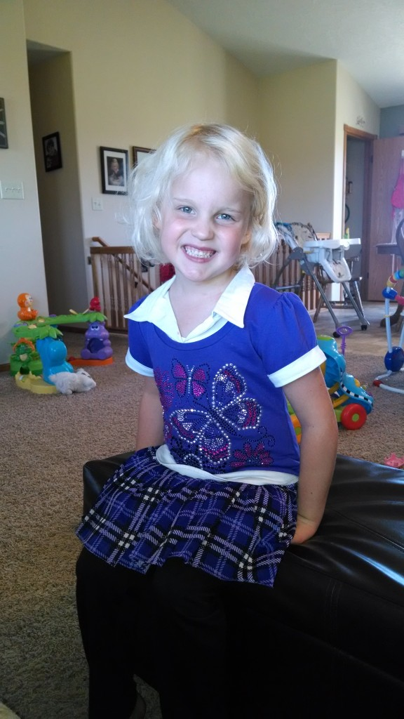"Her first day of ""school""! Check out that sun bleached hair."