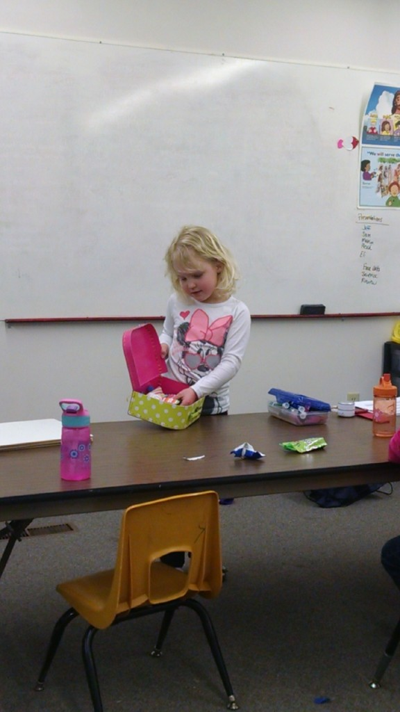 This is my 6 year old giving her weekly presentation at our home school group. This used to terrify her, but it's awesome to see her confidence now!