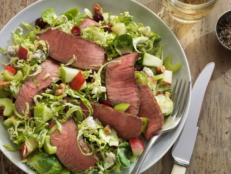 FOUR-SEASONS BEEF AND BRUSSELS SPROUT CHOPPED SALAD www.herviewfromhome.com
