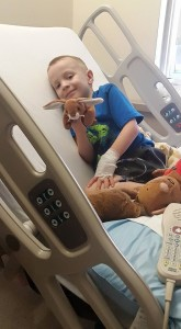 My son making the most of a hospital stay