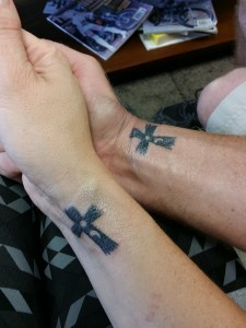 """On July 1, 2015, Jeremy, a survivor of suicide, and I got matching semicolon tattoos to support the Semicolon Project and those suffering from unseen illnesses and to spread awareness of mental illness.  """"The semicolon represents a sentence that the author could have ended but chose not to. The author is you and the sentence is your life."""" - Project Semicolon"""