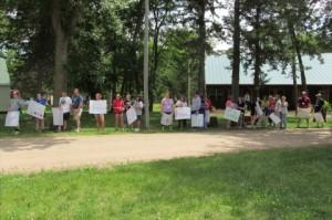 Volunteers welcoming campers