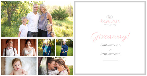 Roman Photography Giveaway! ($400 + $200 gift cards!)   www.herviewfromhome.com