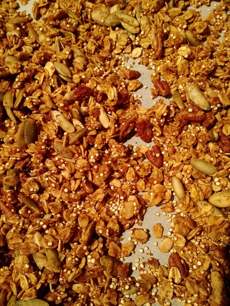Spiced Pecan Muffins with Pumpkin Granola   www.herviewfromhome.com
