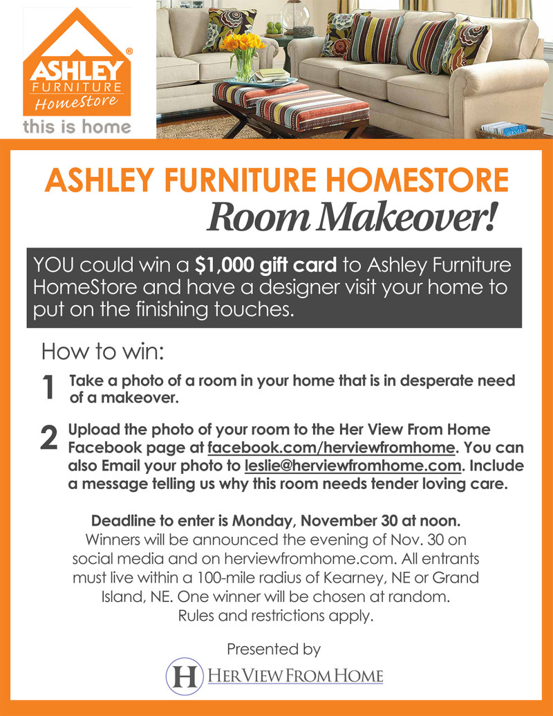 Ashley Furniture HomeStore $1,000 Makeover! Www.herviewfromhome.com