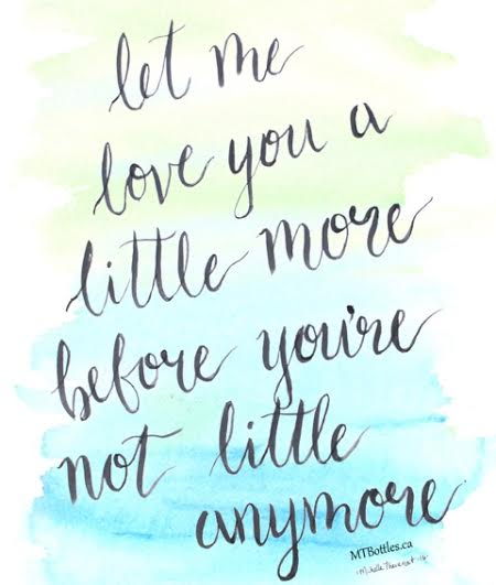 Let Me Love You a Little More, Before You're Not Little