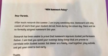 "Mom/Teacher Responds To School's Viral ""No Homework"" Policy"