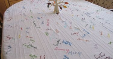 http://abcnews.go.com/Lifestyle/familys-thanksgiving-tablecloth-16-years-handwritten-signatures/story?id=43575695