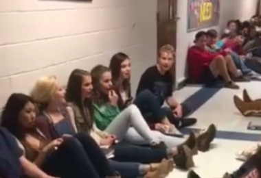 """Students sing """"Mary Did You Know"""" During Tornado Warning www.herviewfromhome.com"""