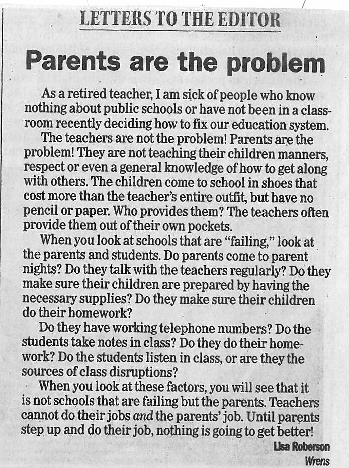 letters to the parents