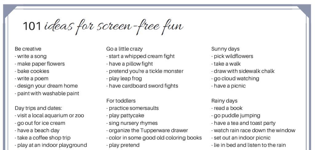 101 ideas for screen-free fun printable