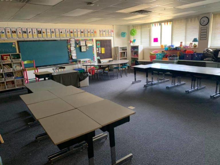 Empty classroom at the beginning of summer vacation