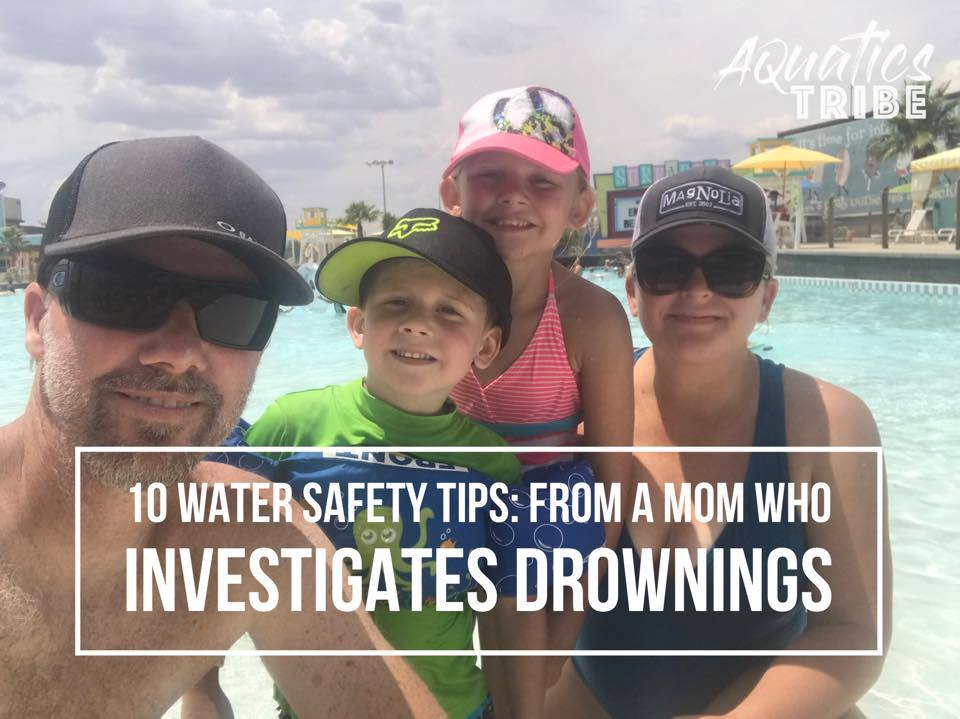 Family by the pool in summer with water safety tips