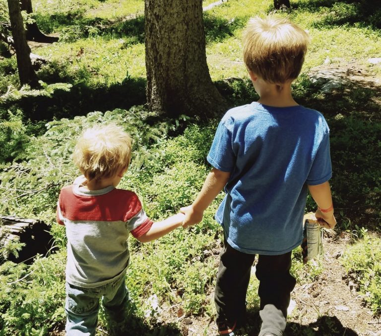 Two brothers walk hand in hand outside