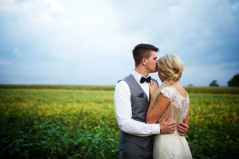 Couple on wedding day embracing