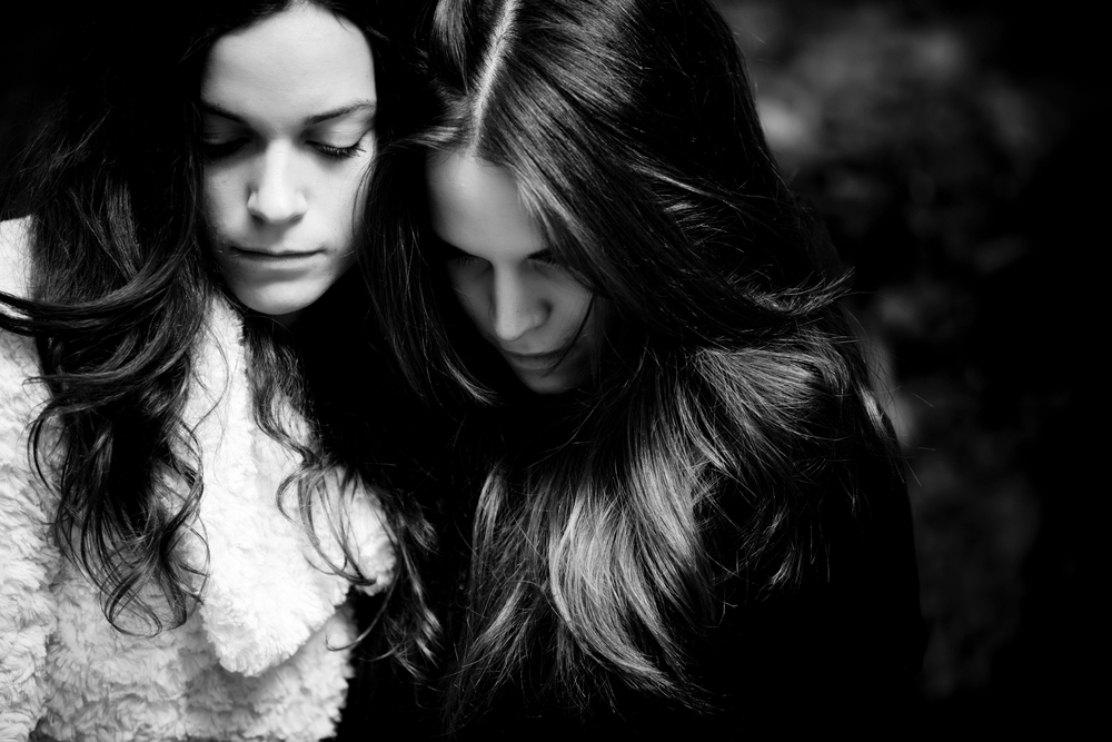 two friends black and white sorrow