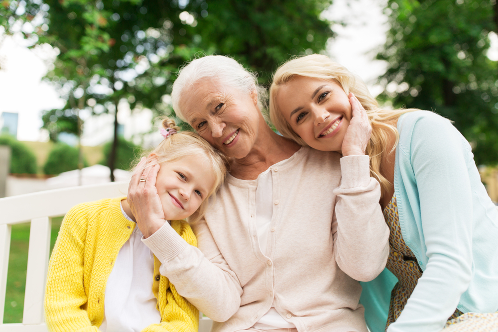 Older woman with younger mom and daughter