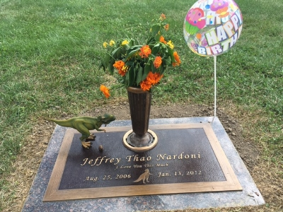Grave with flowers and balloon