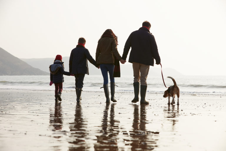 Family of four walking on beach with dog