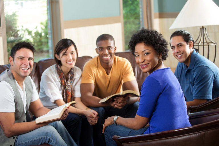 Bible study gathering in a church