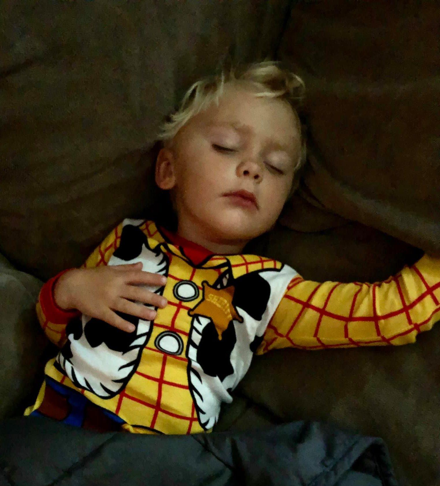 Sleeping toddler in pajamas