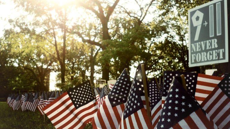 American flags 9/11 memorial