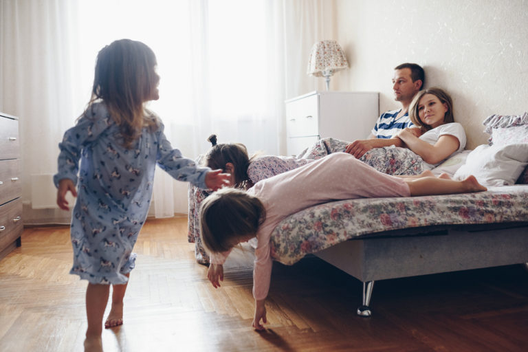 Busy family at home