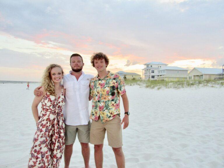 Siblings on a beach