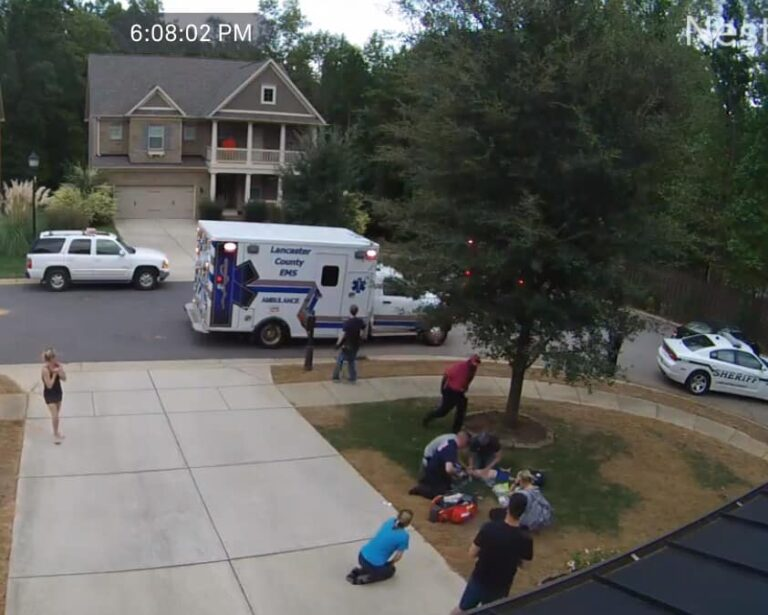 First responders treating child