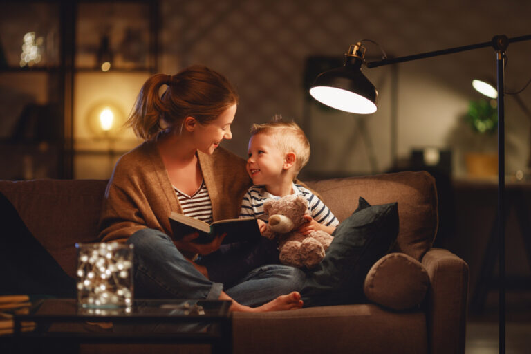 Mother and child on couch at home