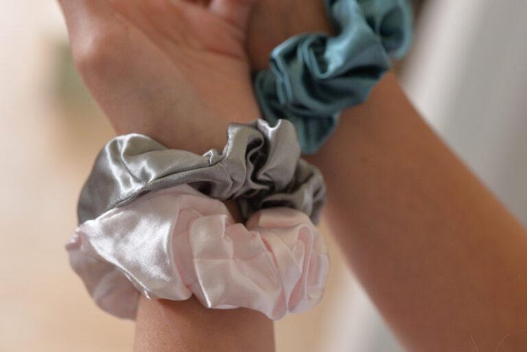 hair scrunchies on a wrist