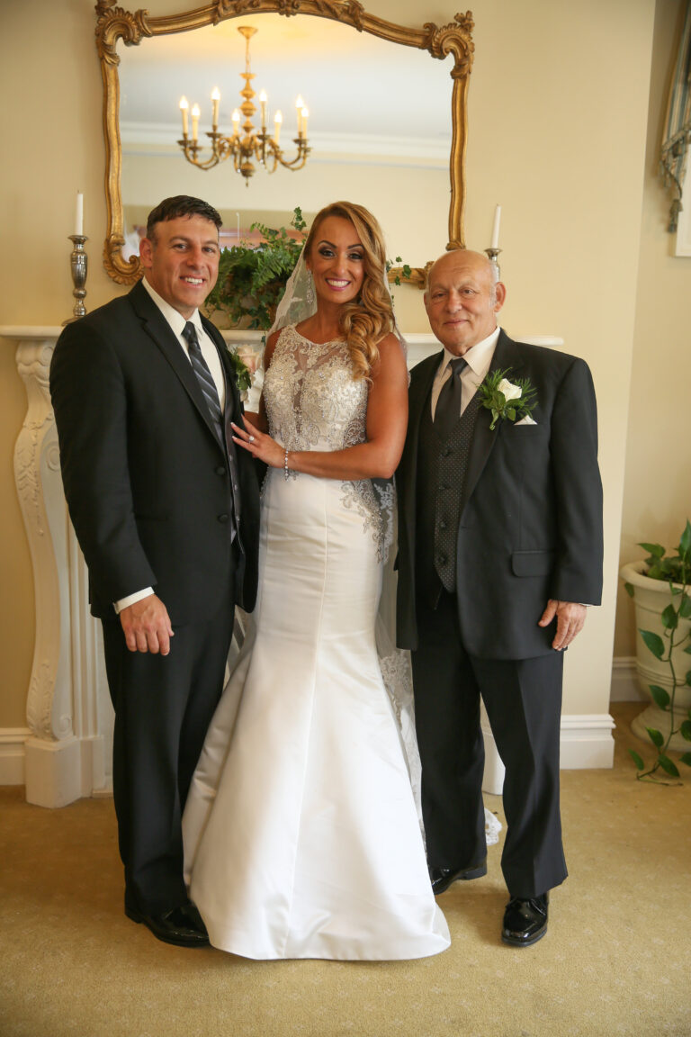 Wedding photo bride, groom, father-in-law