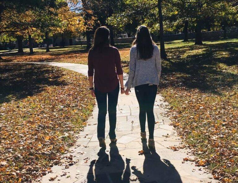 Mother daughter walking together
