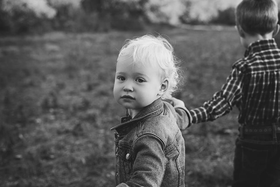 Baby looking back at camera